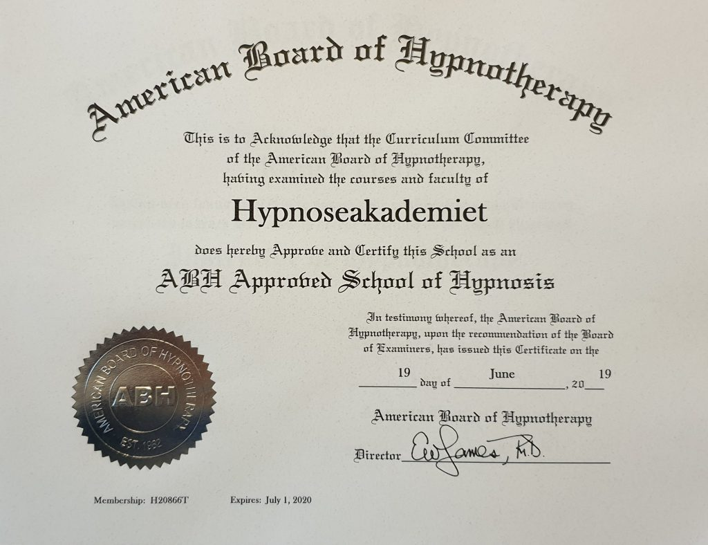 Sertifikat fra American Board of Hypnotherapy